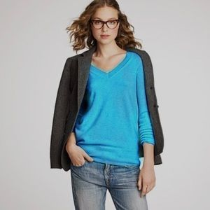 J Crew Merino Wool V Neck Pullover Sweater Blue M